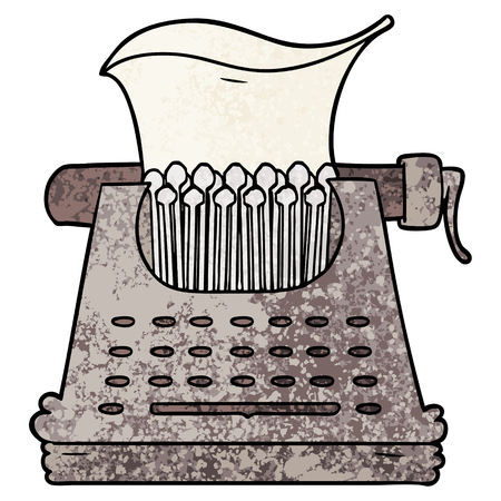 Cartoon typewriter illustration on white background.