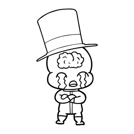 白い背景に漫画の大きな脳エイリアン泣くイラスト。  イラスト・ベクター素材