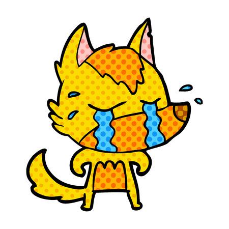 Fad little fox cartoon character illustration on white background.