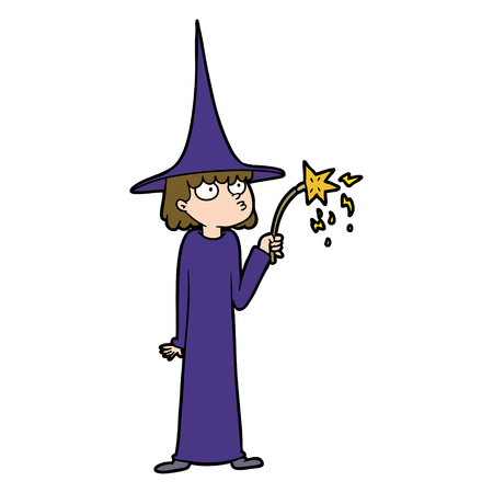 Cartoon witch holding a staff