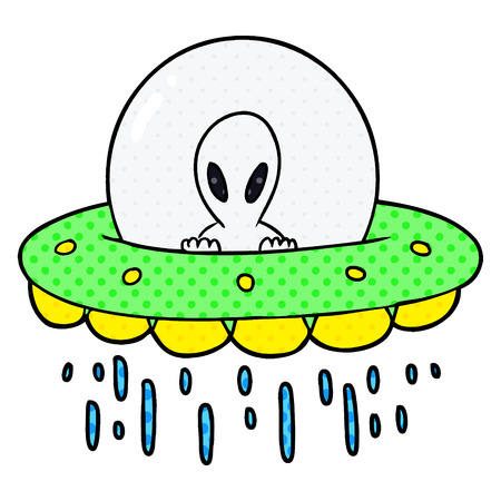 Cartoon alien UFO illustration