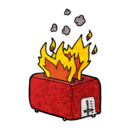 Cartoon burning toaster illustration on white background.