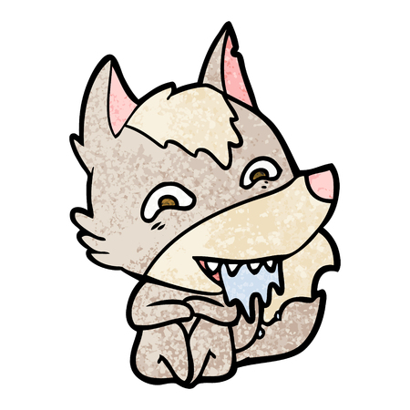 cartoon hungry wolf Vector illustration.