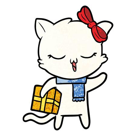 Cartoon girl cat with christmas present Illustration