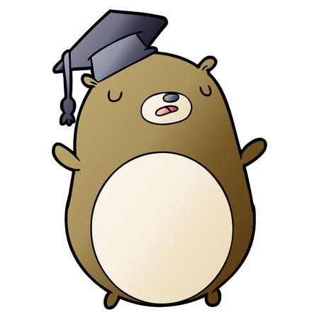 cartoon graduate bear Vector illustration. Ilustração