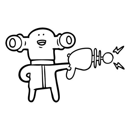 friendly cartoon alien with ray gun Illustration