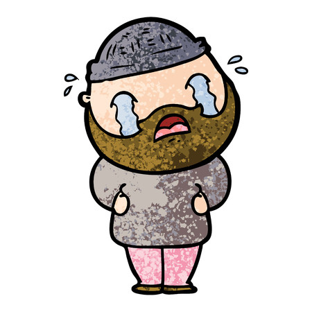 Cartoon bearded man crying Banque d'images - 95726967