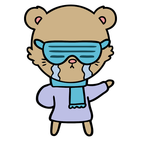 crying cartoon bear wearing rave sunglasses Vector illustration.