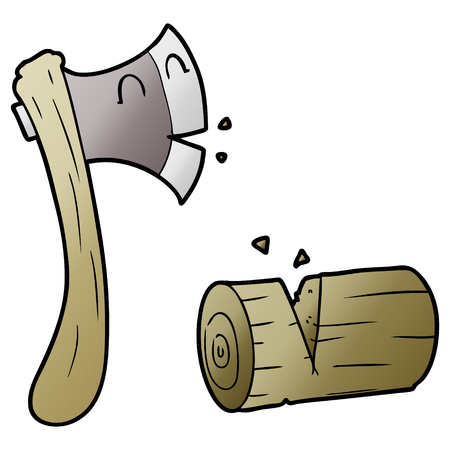 Cartoon axe and chopped wood