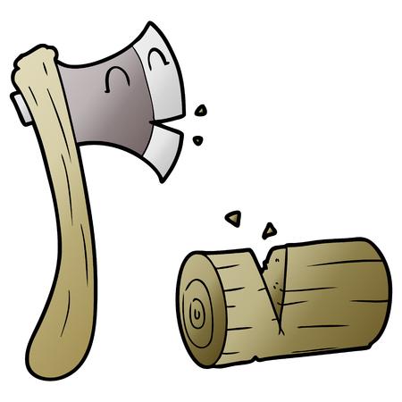 Cartoon axe and chopped wood