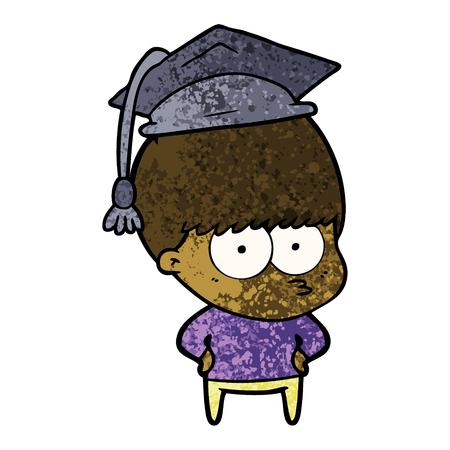 Nervous graduating cartoon boy