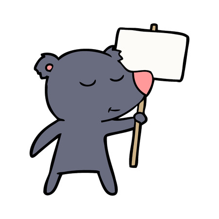 Bear cartoon chraracter with protest sign