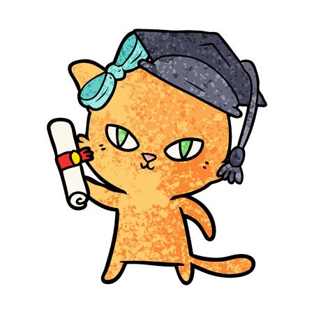 cute cartoon cat graduating Vector illustration. Illustration