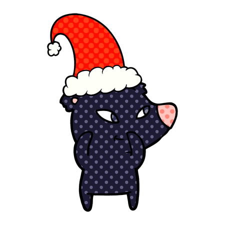 cartoon christmas bear Vector illustration.