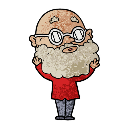 cartoon curious man with beard and glasses Vector illustration.