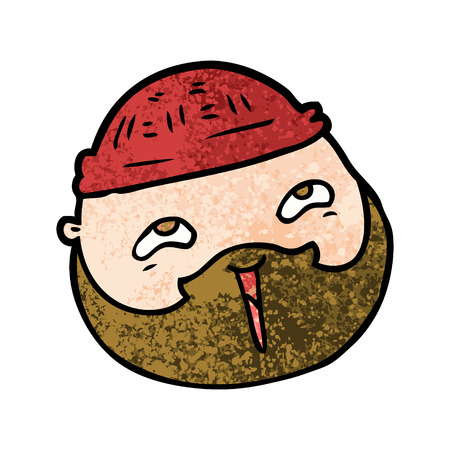 cartoon male face with beard Vector illustration. Illustration