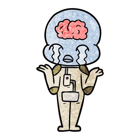 cartoon big brain alien crying Vector illustration. 스톡 콘텐츠 - 95859043
