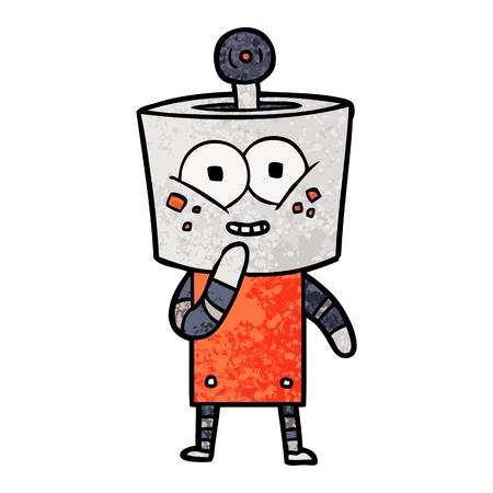 Happy cartoon robot giggling