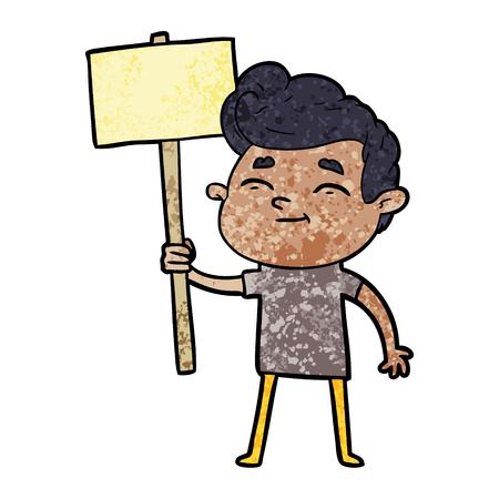Happy cartoon man with sign Stock Vector - 95769725
