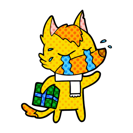 fox cartoon character with present Vector illustration. Illustration