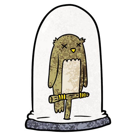 Cartoon dizzy looking owl on a bird cage