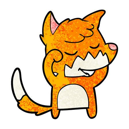 Friendly cartoon fox waking up