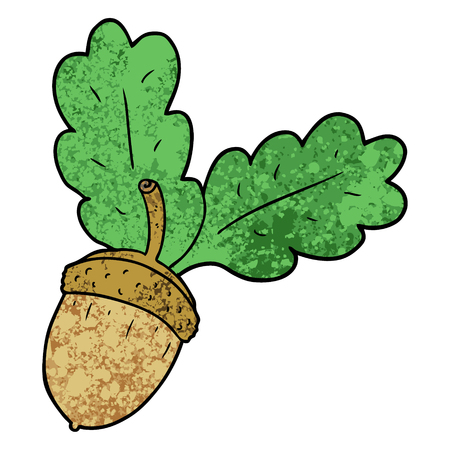 Cartoon acorn with leaves