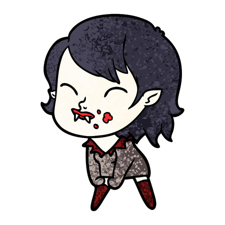 cartoon vampire girl with blood on cheek
