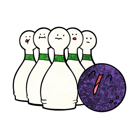 Cartoon laughing bowling ball and pins