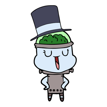 happy cartoon robot wearing top hat Illustration
