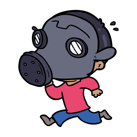 Cartoon man wearing gas mask Illustration