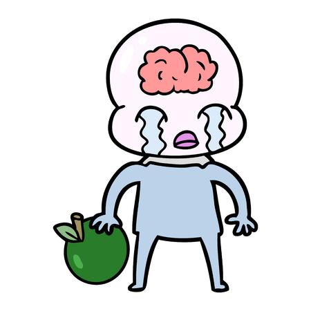 リンゴと漫画の大きな脳エイリアン
