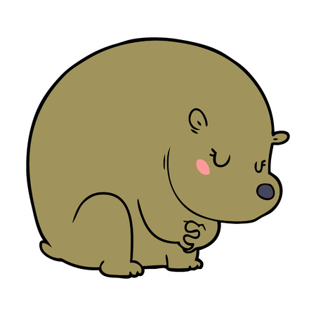 Shy bear cartoon chraracter 일러스트