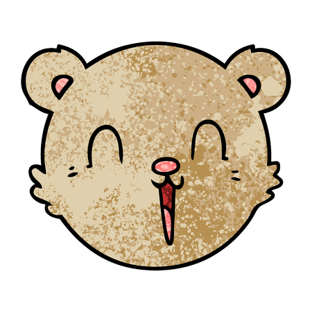 Cute cartoon teddy bear face Vettoriali
