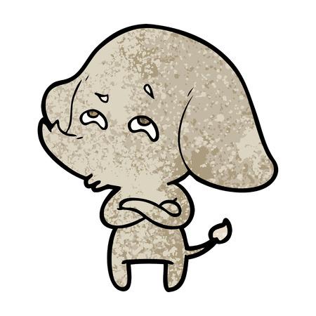 Cartoon elephant remembering Çizim