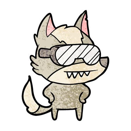 Wolf wearing goggles cartoon Illustration