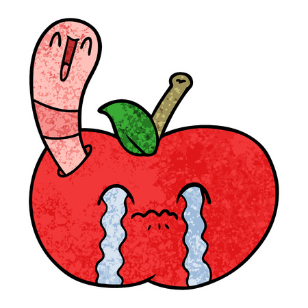 Cartoon apple crying because of worm inside. Illustration