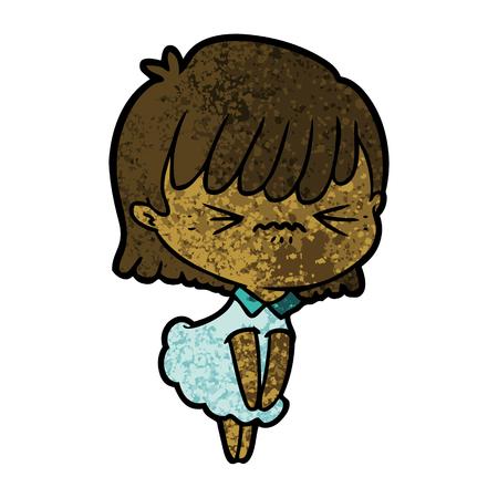 Annoyed cartoon girl Иллюстрация