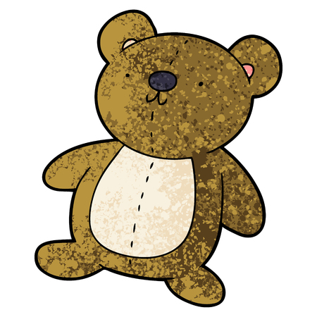 cartoon stuffed toy bear Vector illustration.