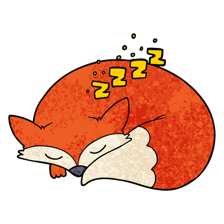 Cartoon sleeping fox