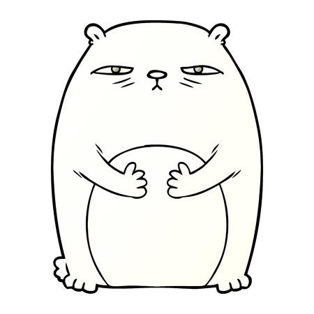 tired polar bear cartoon Vector illustration.
