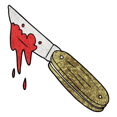 cartoon bloody knife Vector illustration. Illustration