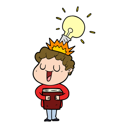 Laughing cartoon man with book and idea