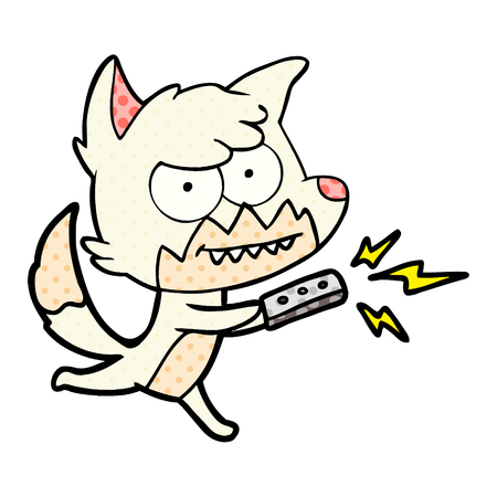 cartoon grinning fox with remote control