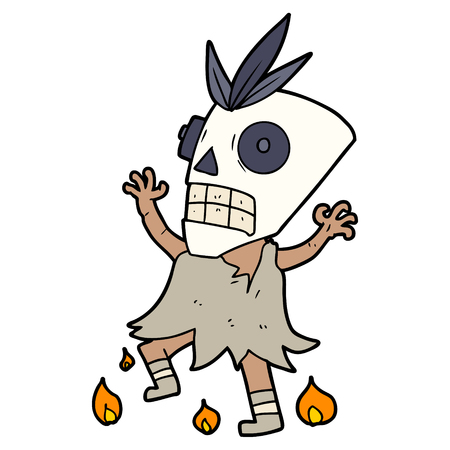 cartoon cannibal shaman Vector illustration.