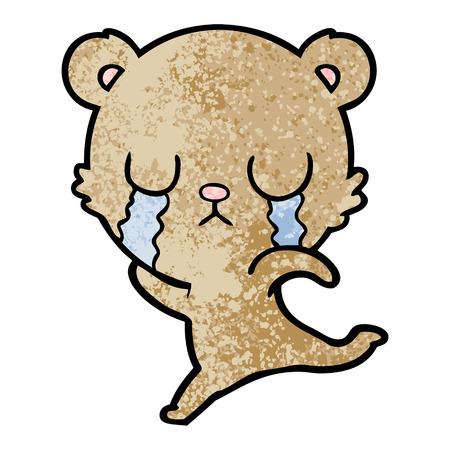 crying cartoon bear running away