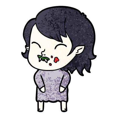 cartoon vampire girl with blood on cheek Vector illustration. Ilustração