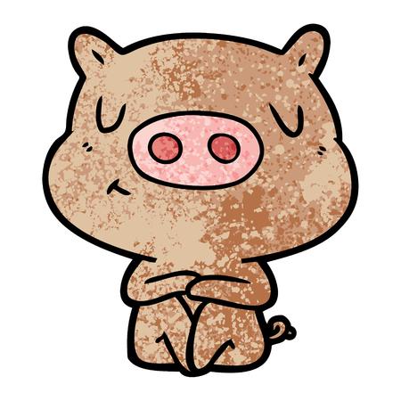 만화 콘텐츠 돼지 명상 벡터 일러스트 레이 션.