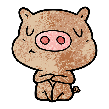 cartoon content pig meditating Vector illustration.