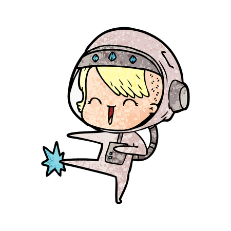 Happy cartoon space girl kicking